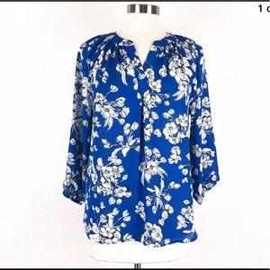 Ivanka trump blue 3/4 sleeve split neck blouse